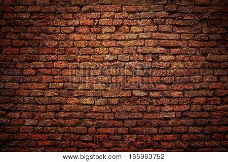 dark old brick wall texture closeup detail