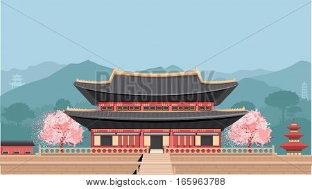 Korean Temple. Flat vector colorful illustration. Asian Temple