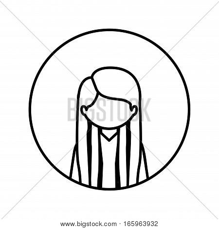 monochrome contour in circle with half body woman with long straight hair vector illustration