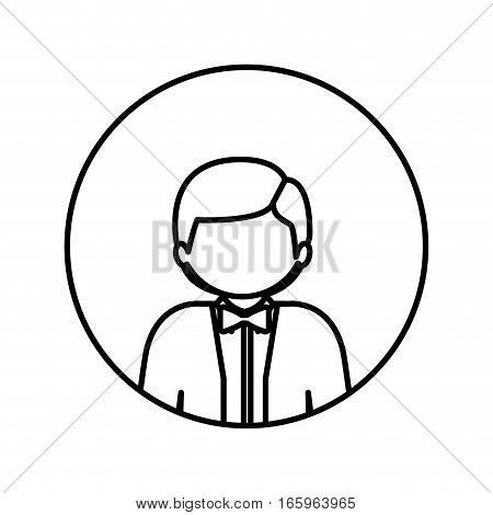 monochrome contour in circle with half body man with bow tie vector illustration