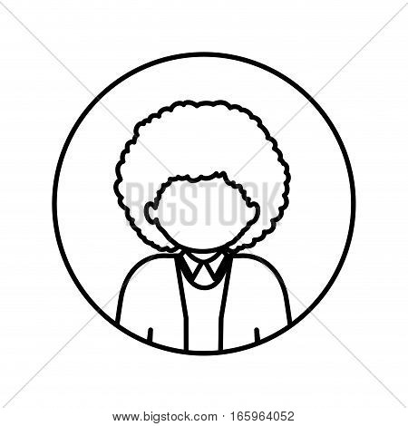 monochrome contour in circle with half body afro man with curly hair vector illustration