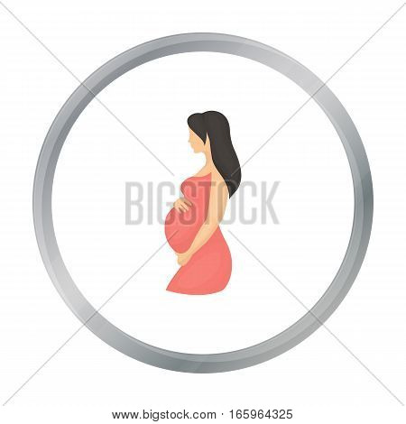 Pregnant icon in cartoon style isolated on white background. Pregnancy symbol vector illustration.