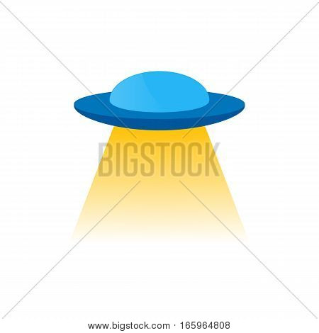 Vector isolated blue ufo or flying a spacecraft to the stranger with yellow light from under the bottom, to decorate and design.