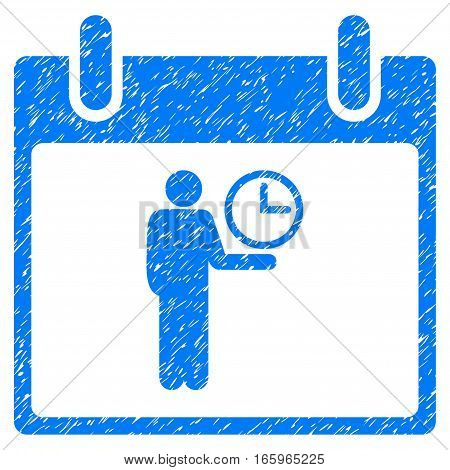 Time Manager Calendar Day grainy textured icon for overlay watermark stamps. Flat symbol with unclean texture. Dotted vector blue ink rubber seal stamp with grunge design on a white background.