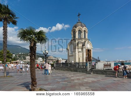 YALTA CRIMEA RUSSIA - SEPTEMBER 12.2016: Chapel in honor of St. Alexander Nevsky in Yalta