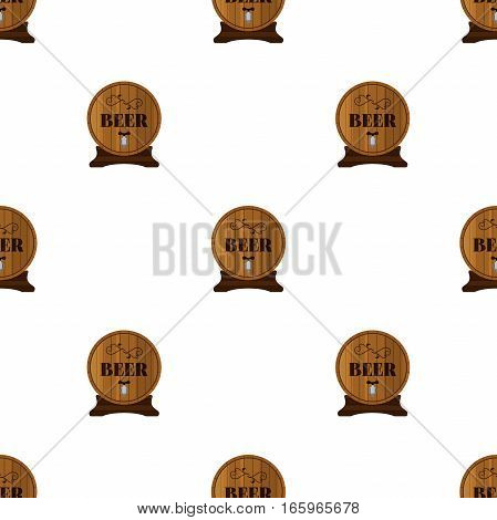 Beer seamless pattern in flat style. Barrels with beer alcohol liquor.