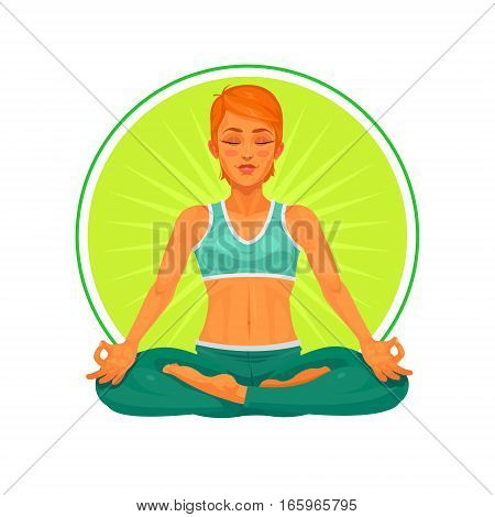 illustration of a girl yoga in the lotus position. Illustration made in cartoon style.