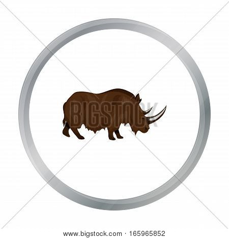 Woolly rhinoceros icon in cartoon style isolated on white background. Stone age symbol vector illustration.