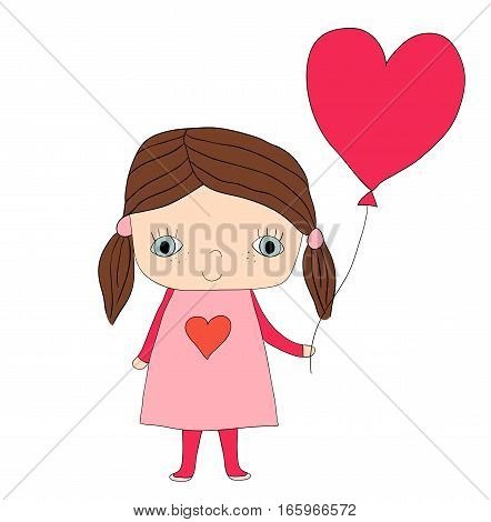 Cute little girl in dress holding a red heart shaped balloon