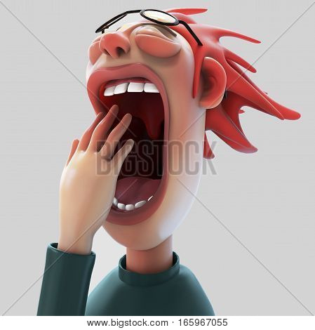 Tired woman with wide open mouth yawning eyes closed 3D illustration isolated