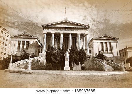 old vintage sepia photo of National library Athens Greece