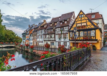 Embankment of Lauch River with historical houses in Colmar Alsace France