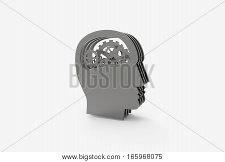 3D rendering illustration of gear in head, thinking process icon. Metal texture