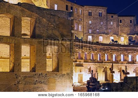 The Trajan Markets in Trajan Forum in Rome. Particularly the left side shooting at night with the lights of the place.
