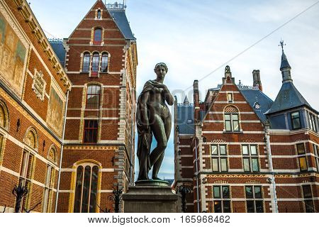 AMSTERDAM NETHERLANDS - JANUARY 09 2017: Rijksmuseum - national museum dedicated to arts and history. One of the most popular museum in Europe. January 09 2017 in Amsterdam Netherlands.