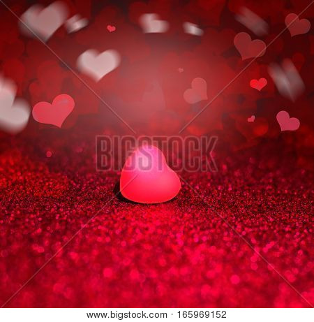 Red Heart On Red Sparkle Glitter background