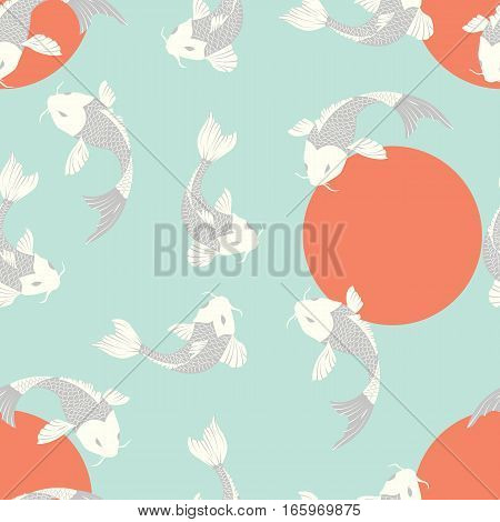 Seamless pattern with carp koi fish and sun, traditional japanese art, vector illustration