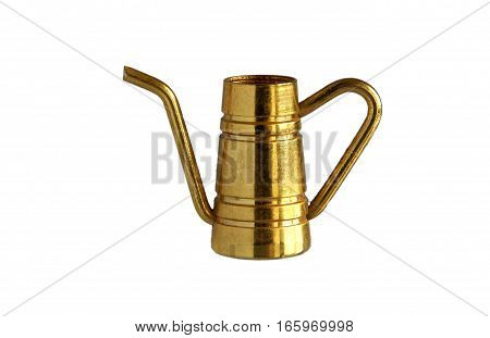 Small vintage brass coffeepot or jug isolated on white background