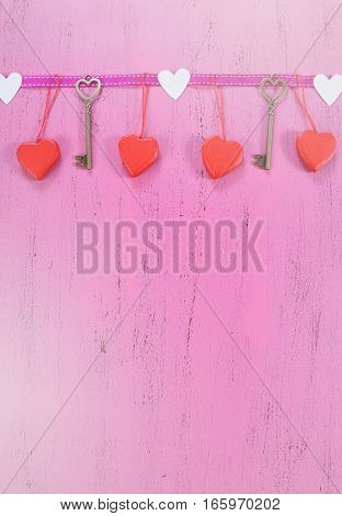 Happy Valentines Day Background With Hanging Hearts