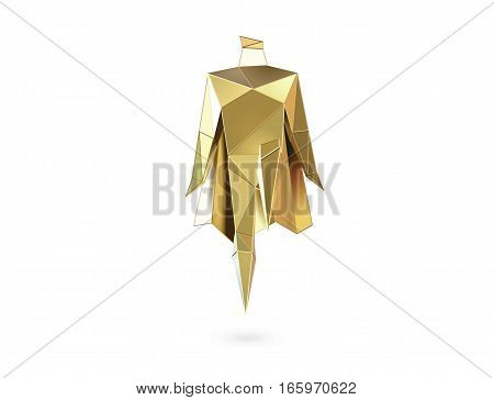 Vector polygonal illustration of gold super hero, origami style icon, modern cartoon super hero man character, business power symbol