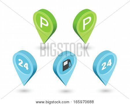 Vector isometric sat of road pointer pin, car parking sign, gas station, around the clock, map geotag icons. 3d flat design