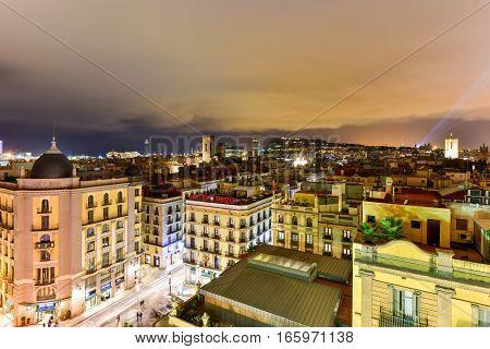Barcelona, Spain - November 26, 2016: Barcelona Skyline at night in Catalonia Spain.