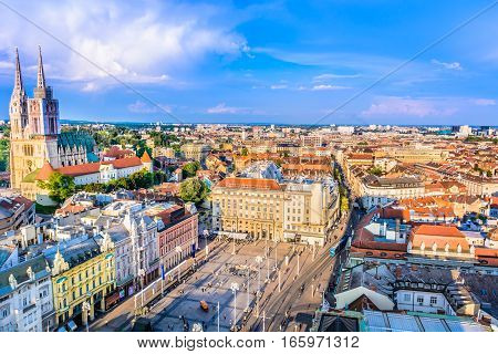 Aerial scenic view on Zagreb city center, capital town of Croatia, european travel places