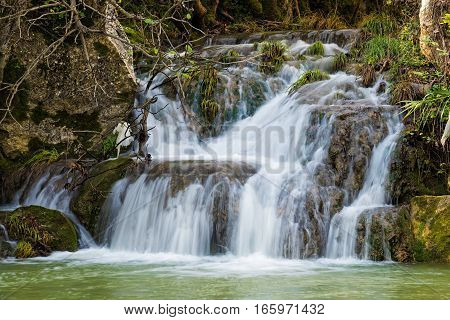 View of the Polylimnio waterfalls in Peloponnese, Greece