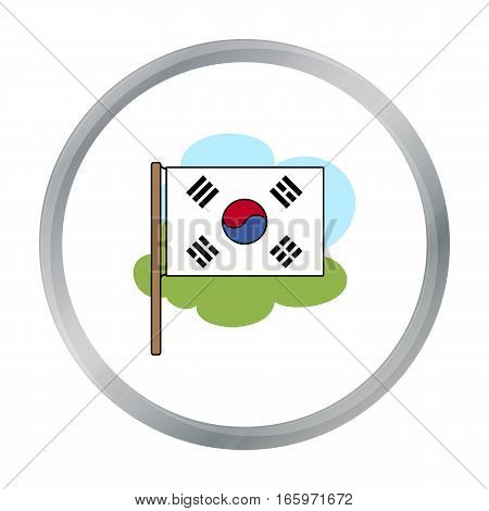Flag of South Korea icon in cartoon style isolated on white background. South Korea symbol vector illustration.