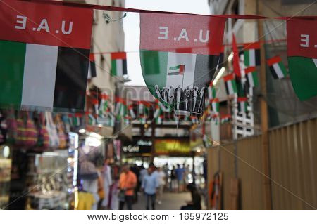 Flag of United Arab Emirates on Textile market in Dubai