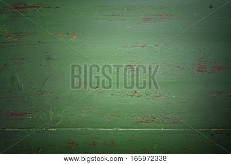 Dark Green Rustic Wood Background, With Applied Dark Vignette Filters.