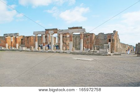 The Ruins Of Eumachia Building In Pompeii