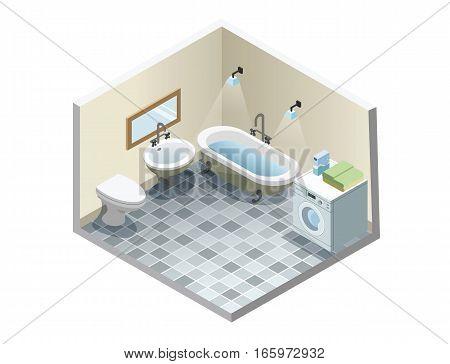Vector isometric bathroom, set of retro vintage bath furniture icons, bathroom isometric retro interior, 3d flat design of home elements