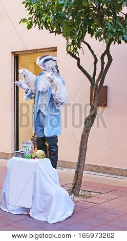 MENTON, FRANCE - FEBRUARY 22, 2012: The street actor with two white trained cats makes performance at the street on February 22 in Menton France.