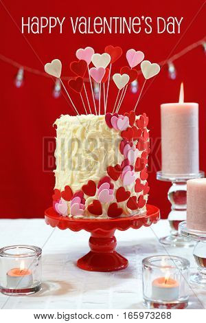 Valentines Day Party Table With Showstopper Hearts Cake.