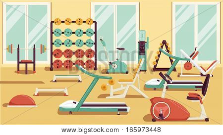 Flat colorful gym. Running Workout illustration rasterized