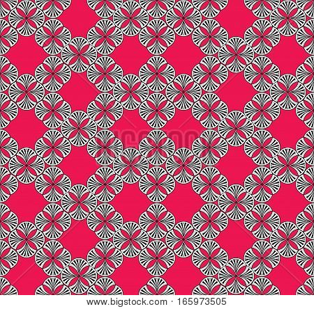 Abstract oriental floral seamless pattern. Flower geometric ornamental background. Floral tiled ornament with flowers.