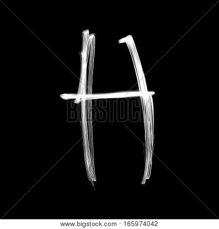 The letter H - written with light at night