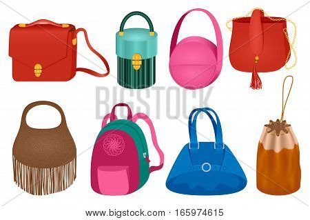 Collection of fashionable handbags 2017 season fashion trends from the runways of designers pret-a-porte. Set of Fashion Female Bags Vector Illustration. Glamour Girls Like Shopping