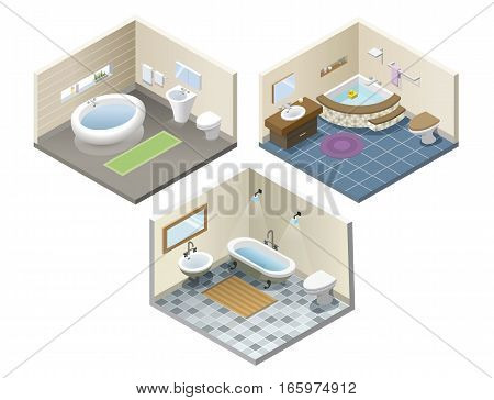 Vector isometric set of bathroom furniture icons, bathroom isometric retro and modern interior, 3d flat design of home elements, jacuzzi