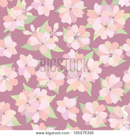 Flower apple tree seamless pattern.Spring floral background. Flourish ornamental texture with gentle bouquets