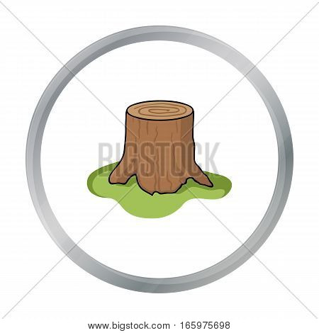 Tree stump icon in cartoon style isolated on white background. Sawmill and timber symbol stock vector illustration. - stock vector