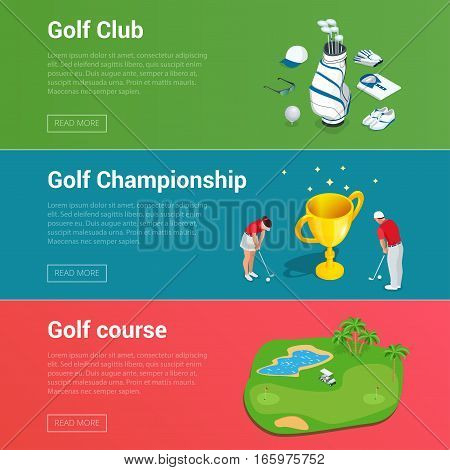 Horizontal Golf Club banners with golf car course hole, championship and apparel flat illustration