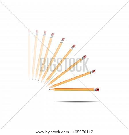 3D illustration of Yellow pencils isolated on white background