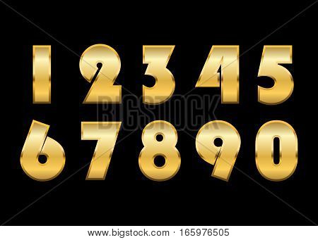 Gold 3d metallic numbers set. Golden metal texture font isolated on black background. Luxury type symbols. Elegant typography graphic. Bright royal style typeset decoration. Vector illustration