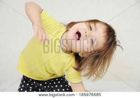 Dancing Little Girl Having Fun Isolated