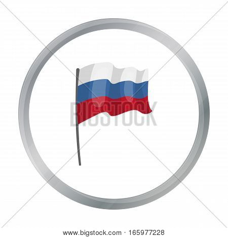 Russian flag icon in cartoon design isolated on white background. Russian country symbol stock vector illustration.