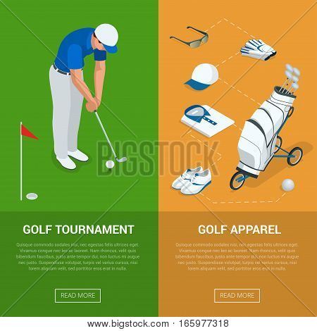Vertical Golf Club banners with golf tournament and apparel, championship. Flat vector illustration for website or flayers
