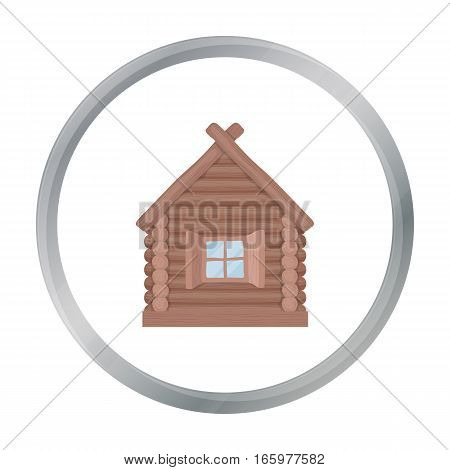 Wooden house icon in cartoon design isolated on white background. Russian country symbol stock vector illustration.