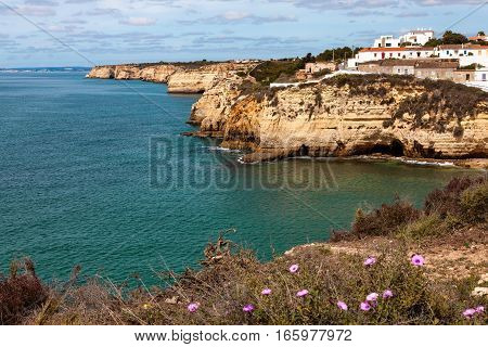 Algarve atlnatic coast near Carvoeiro, Portugal .